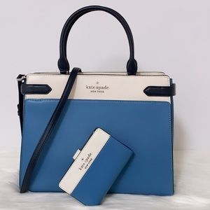 New💃Kate Spade staci colorblock large satchel and Wallet Set